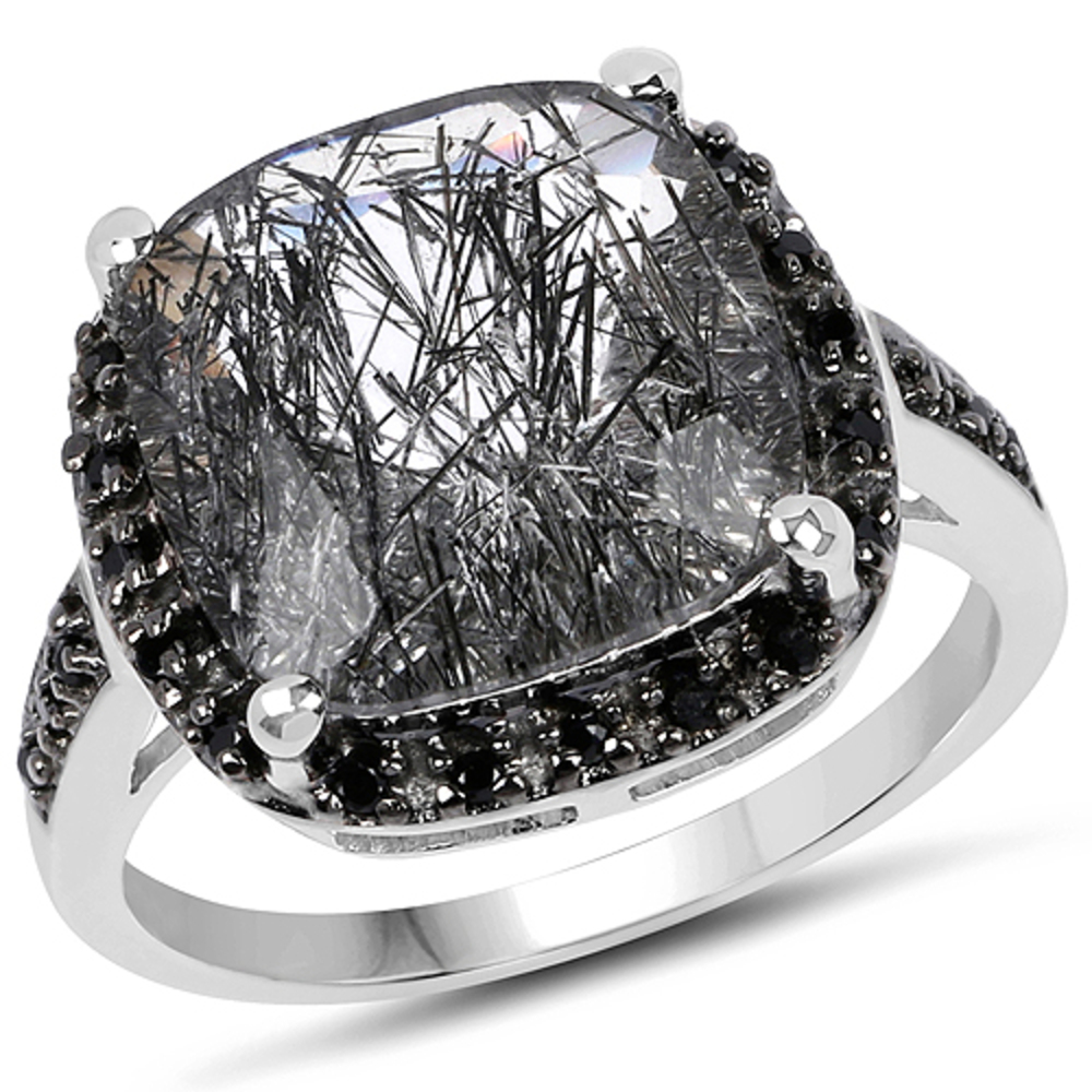 Genuine Cushion Rutilated Quartz and Black Spinel Ring in Sterling Silver - Size 9.00