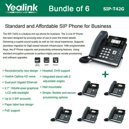 Voice Over Ip Phone Systems - Yealink SIP-T42G 6-PACK Dual Gigabit IP Phone 12-Line HD voice PoE LCD XML
