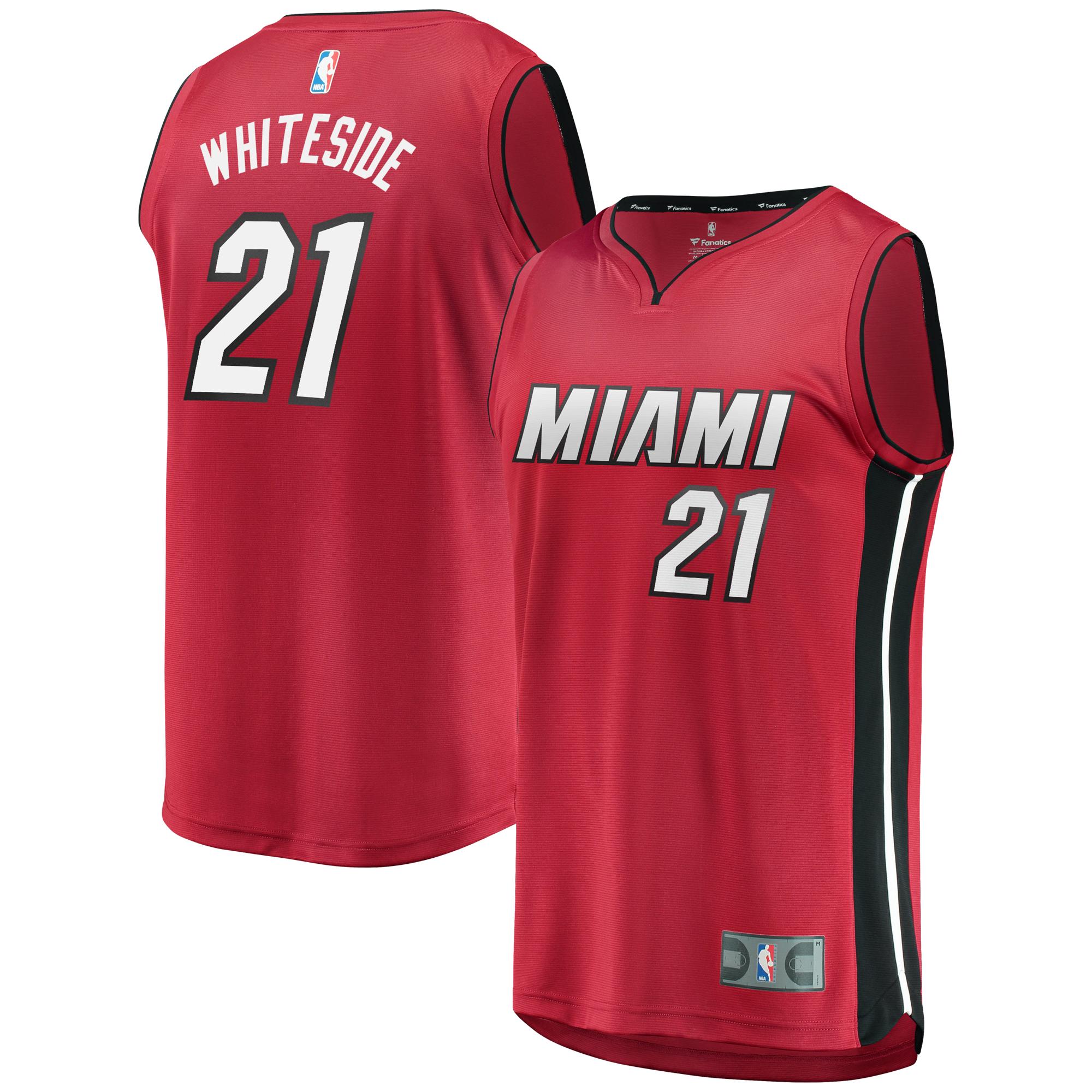 Hassan Whiteside Miami Heat Fanatics Branded Fast Break Replica Jersey Red - Statement Edition