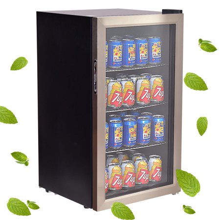 hOmeLabs Beverage Refrigerator and Cooler - Can Mini Fridge with Glass Door for Soda Beer or Wine - Small Drink Dispenser Machine for Office or Bar with Adjustable Removable Shelves.