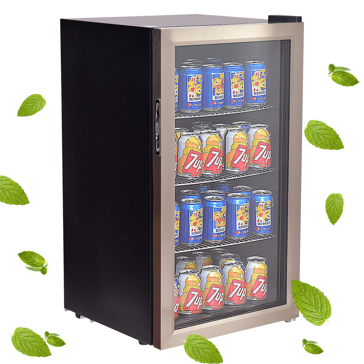 Costway 120 Can Beverage Refrigerator Beer Wine Soda Drink Cooler Mini Fridge Glass Door