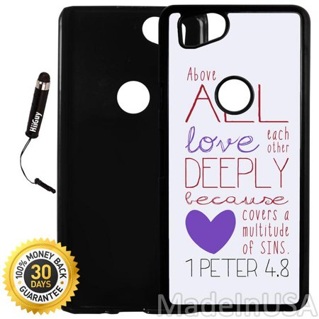 Custom Google Pixel 2 Case (Bible Verse 1 Peter 4-8) Plastic Black Cover Ultra Slim | Lightweight | Includes Stylus Pen by Innosub