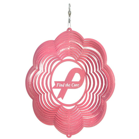 SWEN Products BREAST CANCER FIND A CURE PINK Metal Wind Spinner for $<!---->