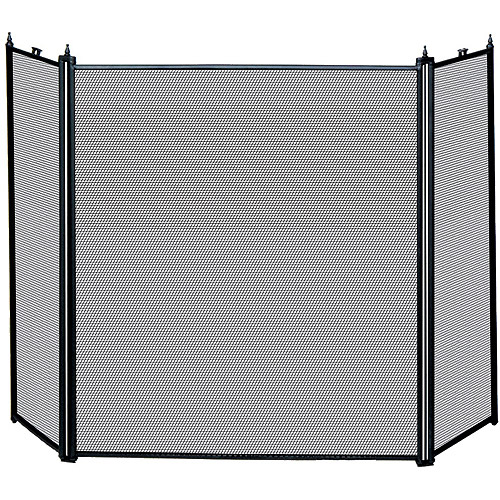 UniFlame 3-Fold Fireplace Screen, Black