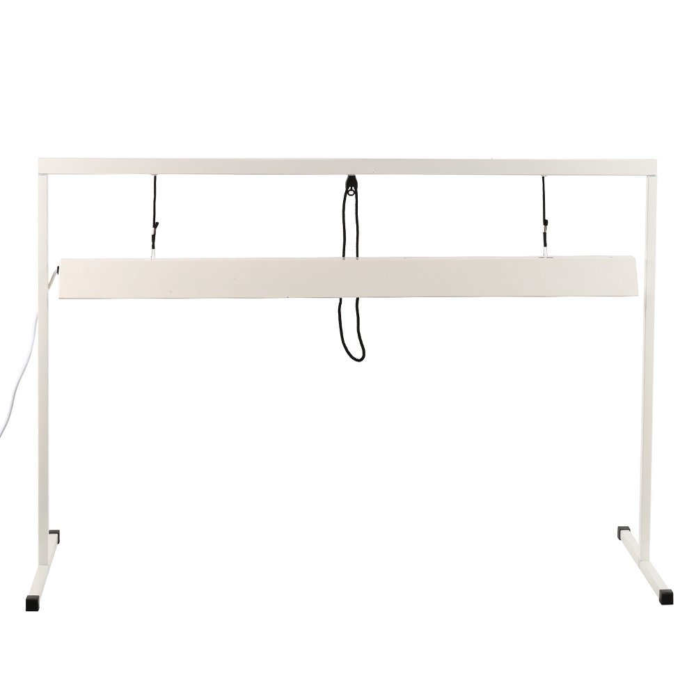 iPower 54W 4 Feet 2-Bulb T5 Fluorescent Grow Light Stand Rack White 48x20 Digital Heat Mat Thermostat Controller Combo Set for Seed Germination