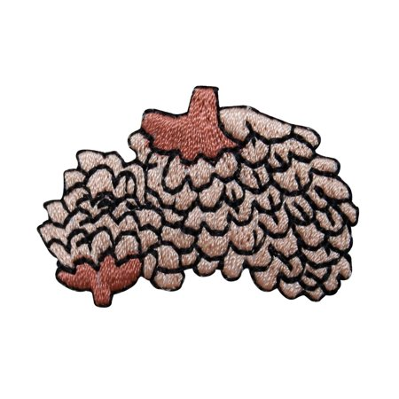 - ID 1429B Pinecone Bundle Patch Pine Tree Seed Fall Embroidered Iron On Applique