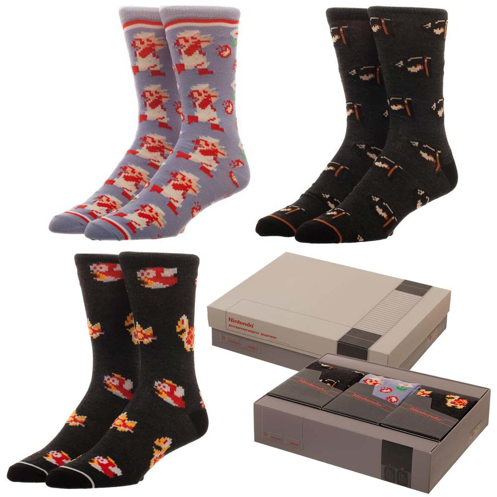 RETRO Nintendo NES Super Mario Socks 3 Pack Set (NES Box