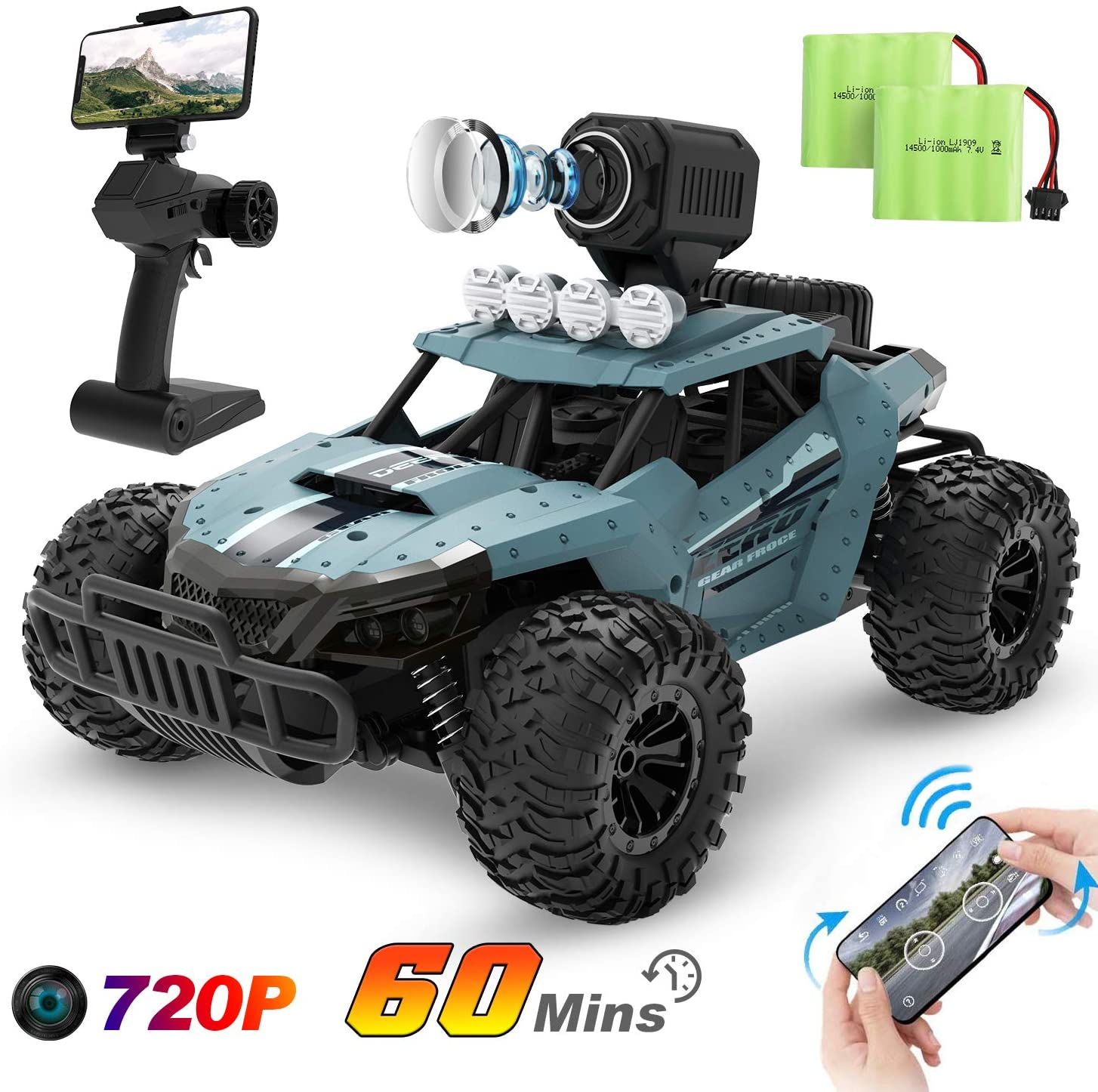 Deerc Rc Cars De36w Remote Control Car With 720p Hd Fpv Camera 1 16 Scale Off Road Remote Control Truck High Speed Monster Trucks For Kids Adults 2 Batteries For 60 Min Play Gift