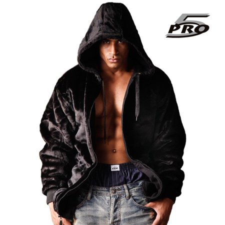 - PRO 5 Men's Heavy Weight Reversible Pile Zip Jacket Fur Hoodie Black/Black S