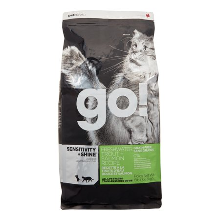 Petcurean Go! Sensitivity + Shine Grain-Free Freshwater Trout + Salmon Recipe Dry Cat Food, 8 lb