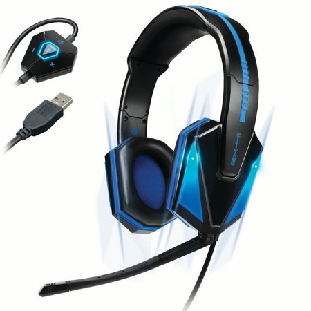 (REFURBISHED) ENHANCE Gaming Headset with 7.1 Virtual Surround Sound , Blue LED Lighting , In-Line Volume Control , Plug-and-Play USB - Great for FPS and MOBA PC Games (Overwatch, PUBG, LOL) thumbnail