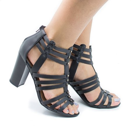 Action by Delicious, Open Toe High Heel Studded Huarache Dress Sandal w Stacked Block Heel (Action Sandals)