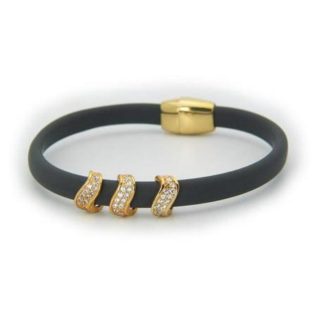 Fronay 122129G Sterling Silver Sparkling Waves Grey Bracelet Magnetic Clasp - image 1 de 1