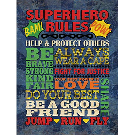 Fun Colorful Popular Superhero Rules Poster Print; Great for a Childs Room or Nursery; One 12x16in Poster Print. Blue/Red/Yellow/Green - Superhero Poster