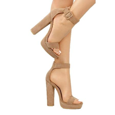 Shoe Republic Casa Taupe Vegan Nubuck High Chunky Heel Platform Ankle Strap Pump 1/2 Chunky Heel Platform