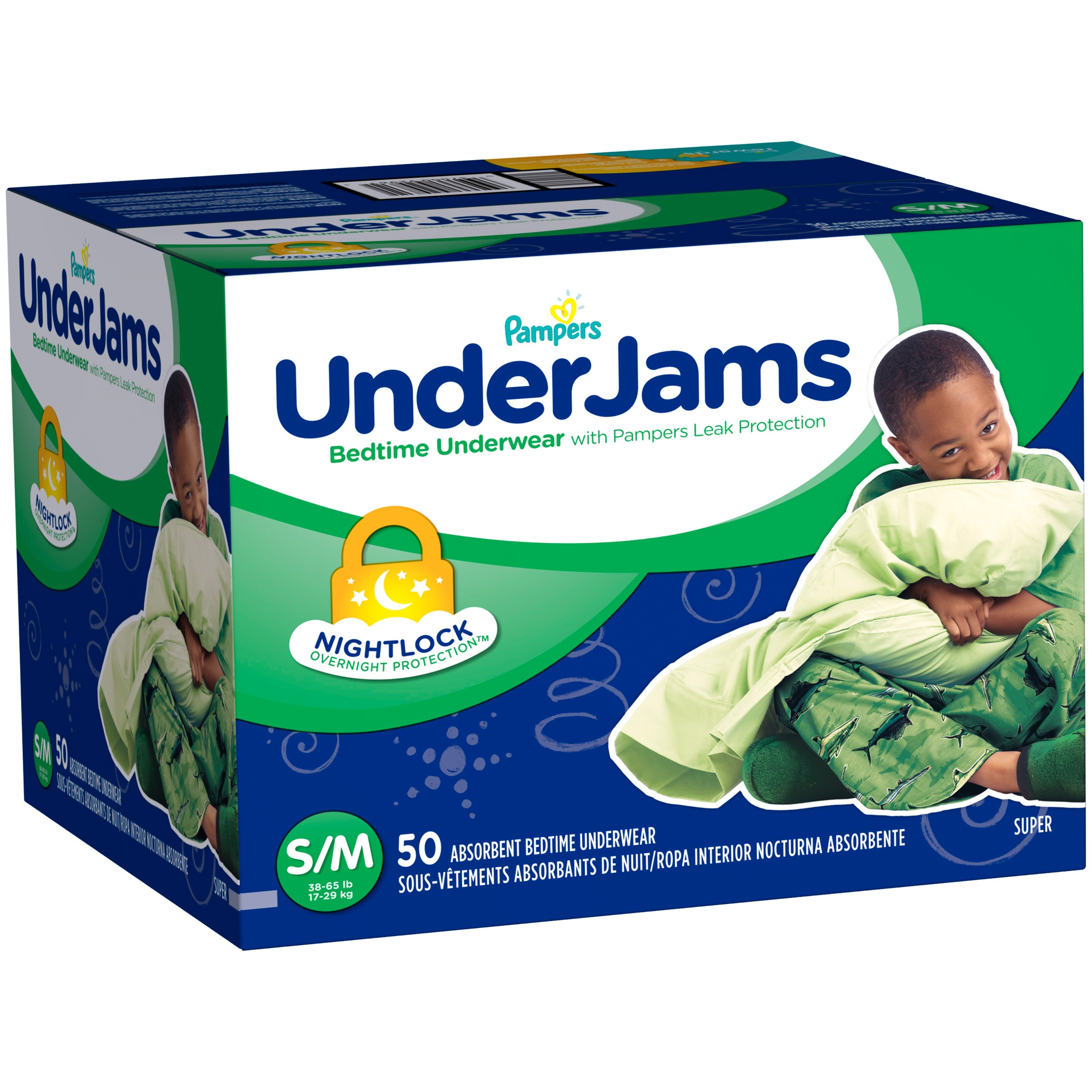 Pampers UnderJams Boys' Bedtime Underwear, Super Pack, (Choose Your Size)