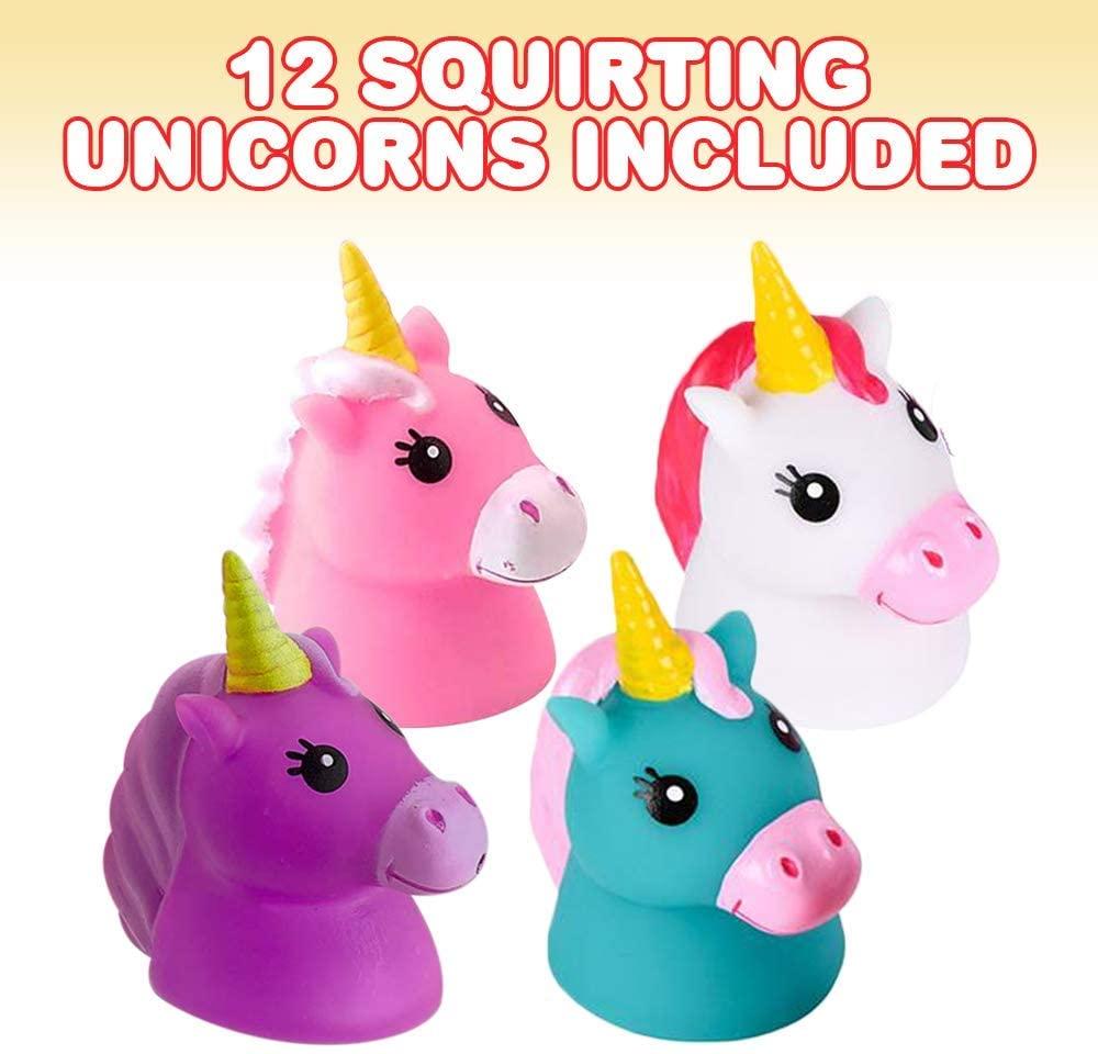 Pool Fun Toy Party Prize Goody Unicorns Beach 12 Rubber Unicorn Squirting Bath