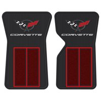 2pc 68- 82 Red Corvette Semi Carpeted Rubber Front Floor Mats