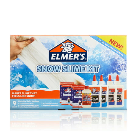 Elmer?s Snow Slime Kit: Supplies Include Clear & White Liquid Glue, Magical Liquid Activator, Instant Snow Packets, 9 Count