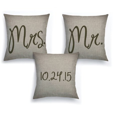 Personalized Mr. and Mrs. 3-Piece Pillow Set - Wedding Gift - Mr And Mrs Pillow