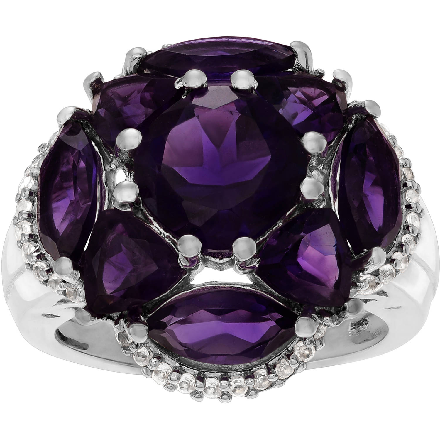 Brinley Co. Women's Amethyst Topaz Sterling Silver Flower Fashion Ring by KNS International