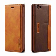 Dteck Case For iPhone 6 Plus / 6s Plus Leather Wallet Case with Kickstand Cash Slot Card Pin Case Foldable with Magnetic Closure, brown
