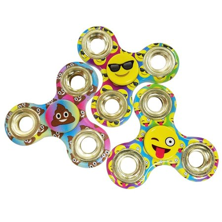 Emoji Three  3  Pack Of Fidget Spinner Toys   Helps Relieves Symptoms Of Stress Boredom Adhd Add   Helps Focus At School Class Home Work   Poop Sunglasses Wink Face Tongue