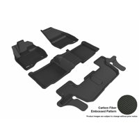 3D MAXpider 2015-2016 Ford Explorer Front, Second, & Third Row Set All Weather Floor Liners in Black with Carbon Fiber Look