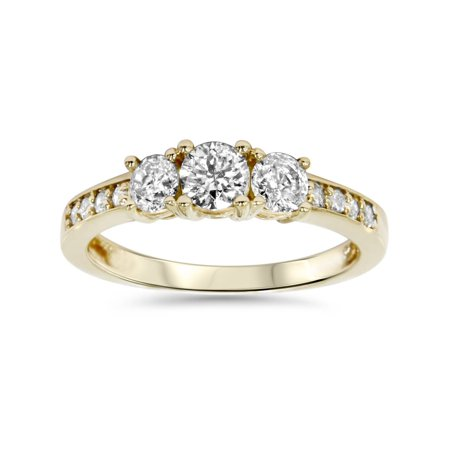 1ct 3 Stone Diamond Engagement Ring 14K Yellow Gold (Engagement Rings Yellow Gold)
