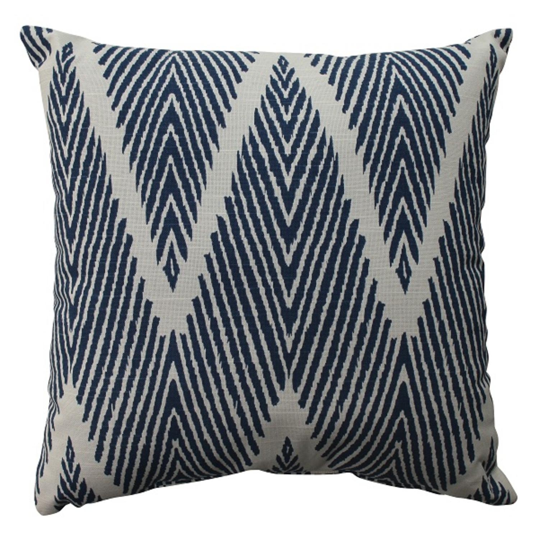 "16.5"" Navy Zig Zag Zebra Print Decorative Square Throw Pillow"