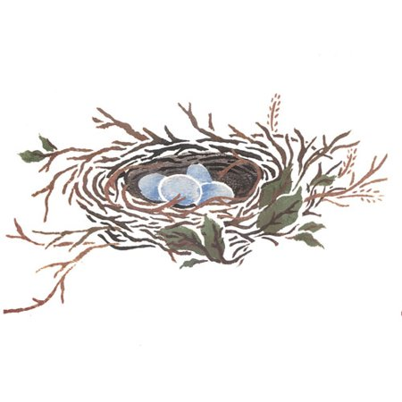 Designer Stencils  Bird's Nest with Eggs Wall Stencil by DeeSigns DEE306
