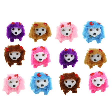 Set of 12 Cute Puppies 'Flower Puppy 22' Walking Battery Operated Toy Plush Play Dog Doll w/ Wagging Tail, Moving Head, Realistic Walking Action (Colors May Vary) - Cute Halloween Puppy