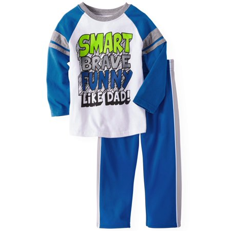 Long Sleeve Raglan T-Shirt & Tricot Pants, 2pc Outfit Set (Toddler Boys)