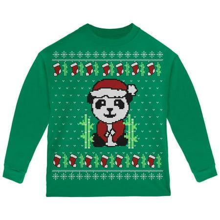 Ugly Christmas Sweater Panda Toddler Long Sleeve T Shirt - Christmas Sweater T-shirt