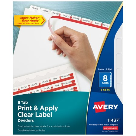 Avery Print & Apply Clear Label Dividers, Index Maker Easy Apply, 8 White Tabs, 5 Sets Avery 5 Tab Clear Label Dividers Template