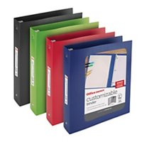 "Office Depot® Brand Round-Ring Poly View Binders, 1 1/2"" Rings, Multicolor"