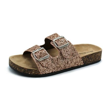 b87e157b04a9 Fashion Brands Group - Kylie-01 Women Double Buckle Straps Sandals Flip  Flop Platform Footbed Sandals Glitter Gold 6.5 - Walmart.com