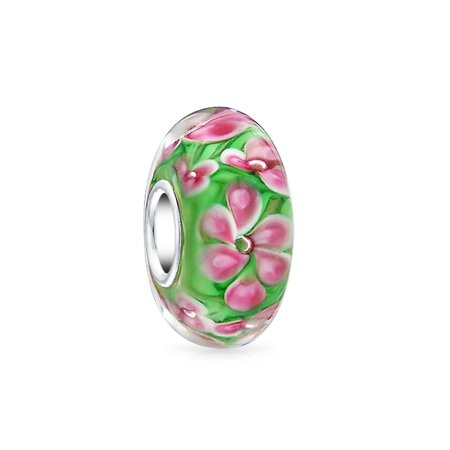 Italian Murano Glass Flower - Pink Tropical Frangipani Flower Green Murano glass Lampwork Charm Bead .925 Sterling Silver