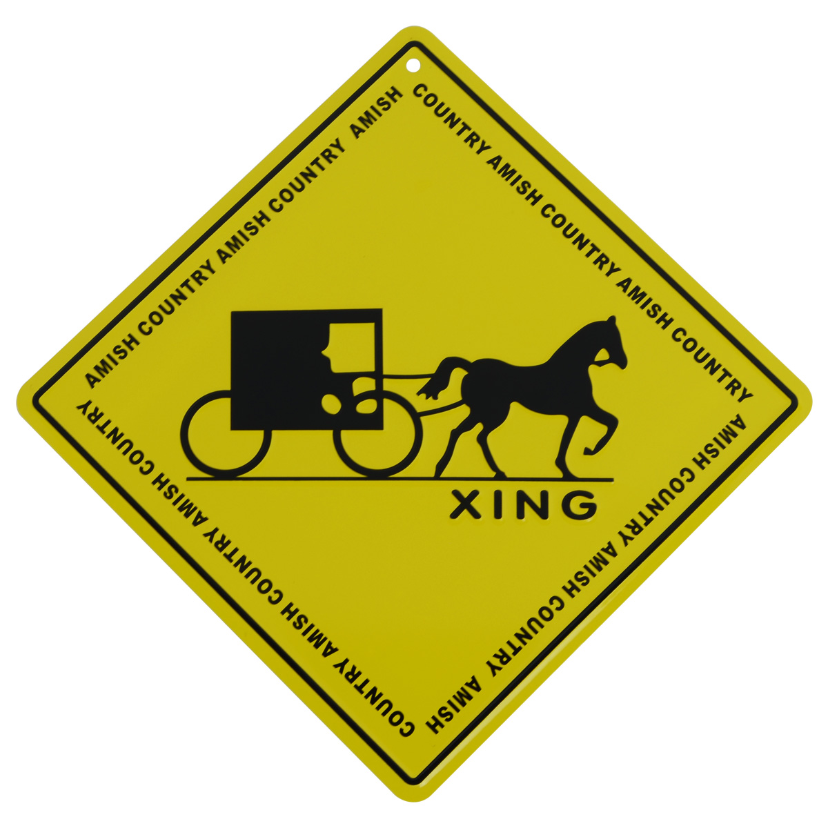 Metal Yellow Caution Warning Road/Street Sign AMISH CROSSING Country Decor Gift