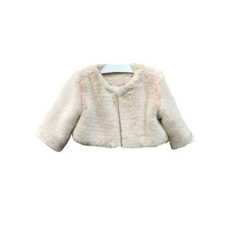 Faux Fur Coat Girl (Little Girls Blush Soft Faux Fur Lined Long Sleeve)
