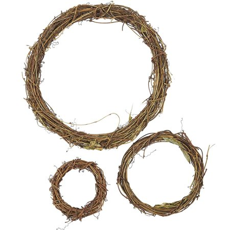 Grapevine Wreath Set – 3-Piece Vine Branch Wreath, Decorative Wooden Twig for Craft, Decor, Door, House, Holiday – 3 Sizes, Large, Medium, Small Large Christmas Wreath
