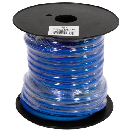 Rockville R4G40-BLUE 4 AWG Gauge 40 Foot Car Amp Power / Ground Wire Spool