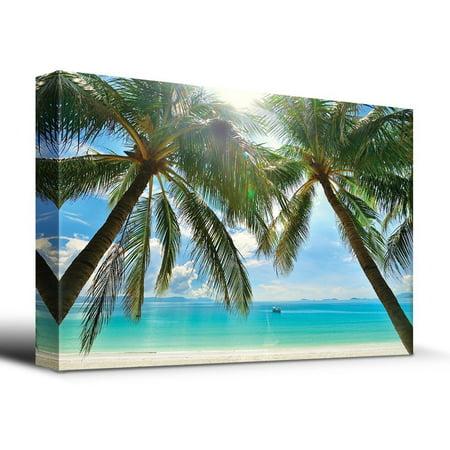 wall26 - Tropical Beach Palm Trees Overlook Ocean - Canvas Art Home Decor - 16x24 - Tropical Decor