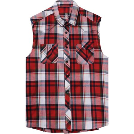Mens Plaid Sleeveless Button Shirt Flannel Pattern