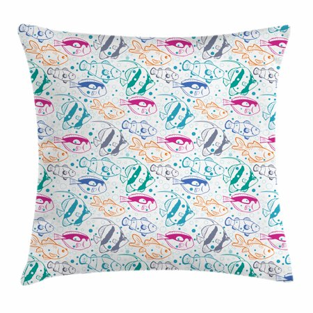Fish Throw Pillow Cushion Cover, Marine Design Ocean Animals Underwater Hand-Drawn in Lively Colors Retro Cartoon Style, Decorative Square Accent Pillow Case, 18 X 18 Inches, Multicolor, by Ambesonne ()