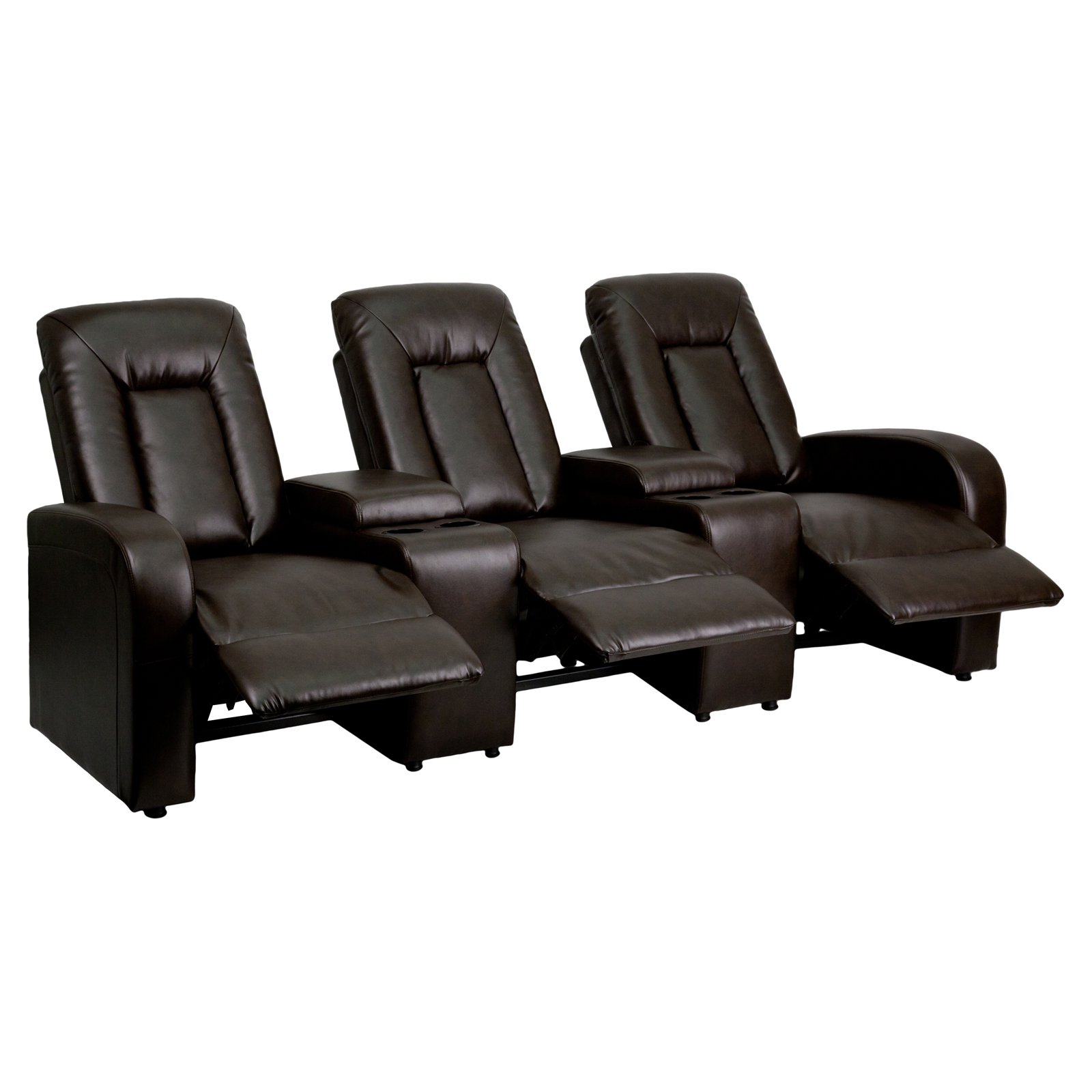 Flash Furniture Leather 3-Seat Home Theater Recliner with Storage Consoles, Multiple Colors