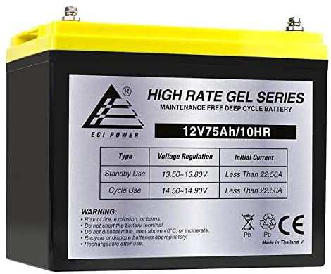 Expertpower 12v 75ah Gel Deep Cycle Battery Replaces Bci Group 24m Starting Marine Rv Walmart Com Walmart Com