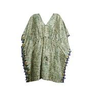 Mogul Women's Short Kaftan Top Beach Cover Up Resort Wear V-Neckline Kimono Sleeves Printed Drawstring Sleepwear Summer Abaya Caftan Dress 4XL