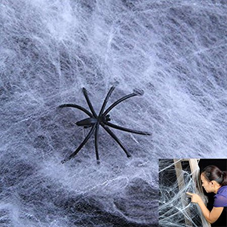 dazzling toys realistic halloween spider webs & webbing + spiders - 12 pack - Halloween Spider Webbing