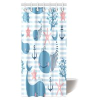 MYPOP Cute Whales for Children and Kids Shower Curtain, Whale Shark Seahorse Sea Creatures Rope and Anchor Octopus Coral Crab Marine Lighthouse Ocean Nautical Coastal Theme, 36 X 72 Inches